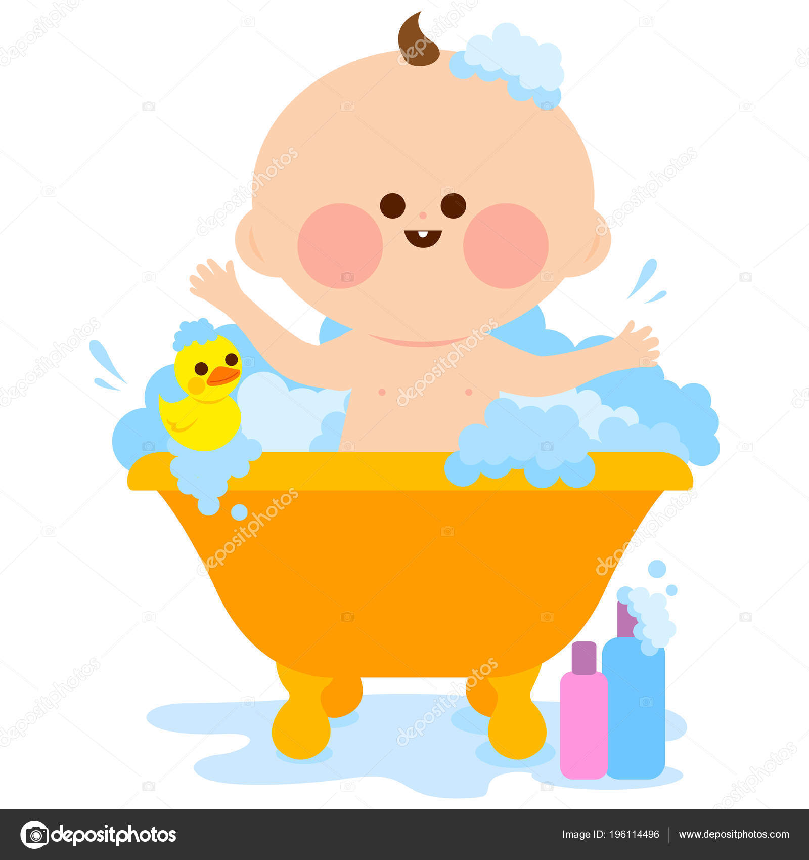 Cute Baby Bath Tub Taking Bubble Bath Playing His Rubber — Stock ...
