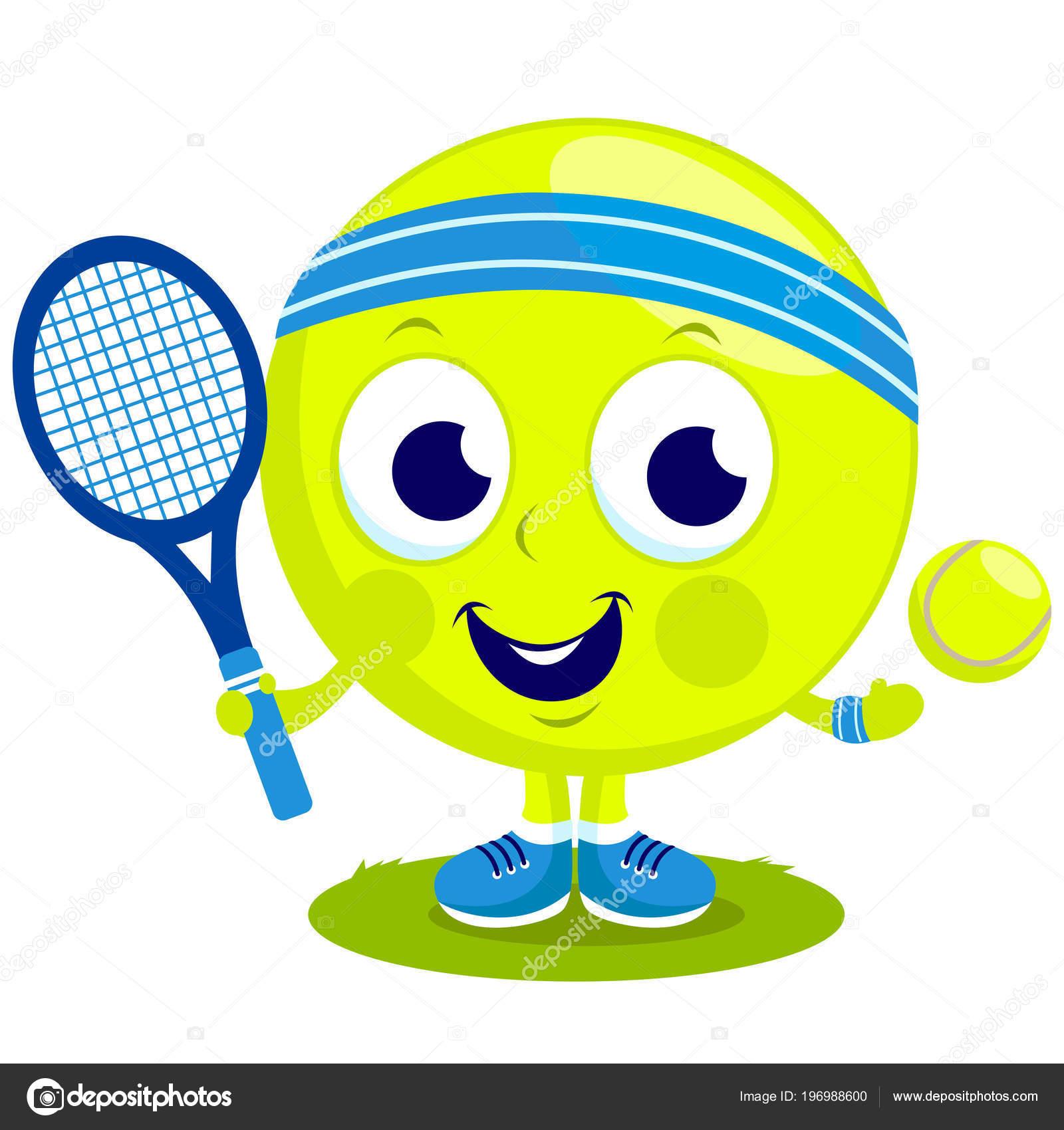 Vector Cartoon Tennis Ball Character Playing Tennis Racket Tennis