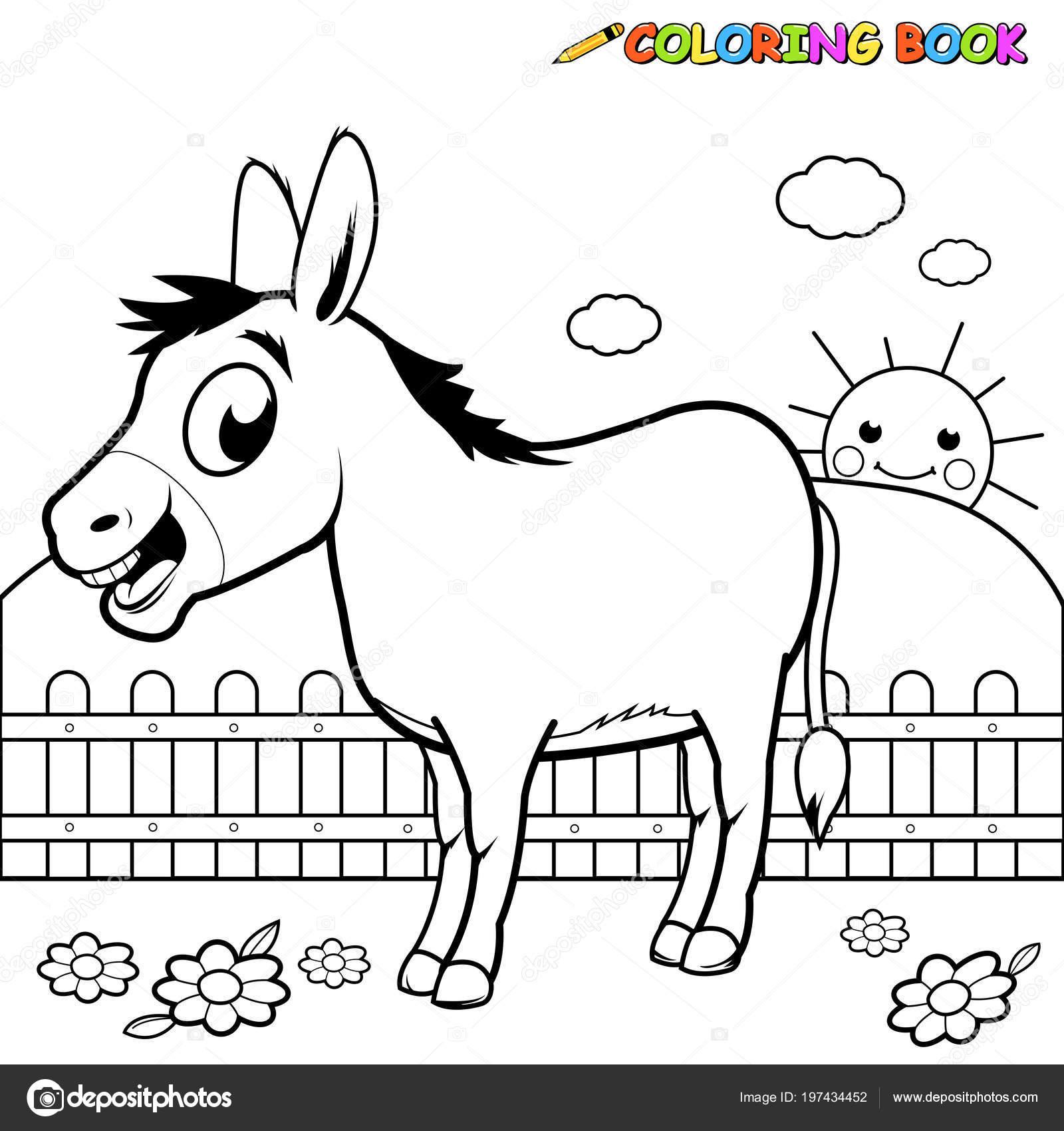Burro Dibujos Animados Granja Página Libro Para Colorear Vector De