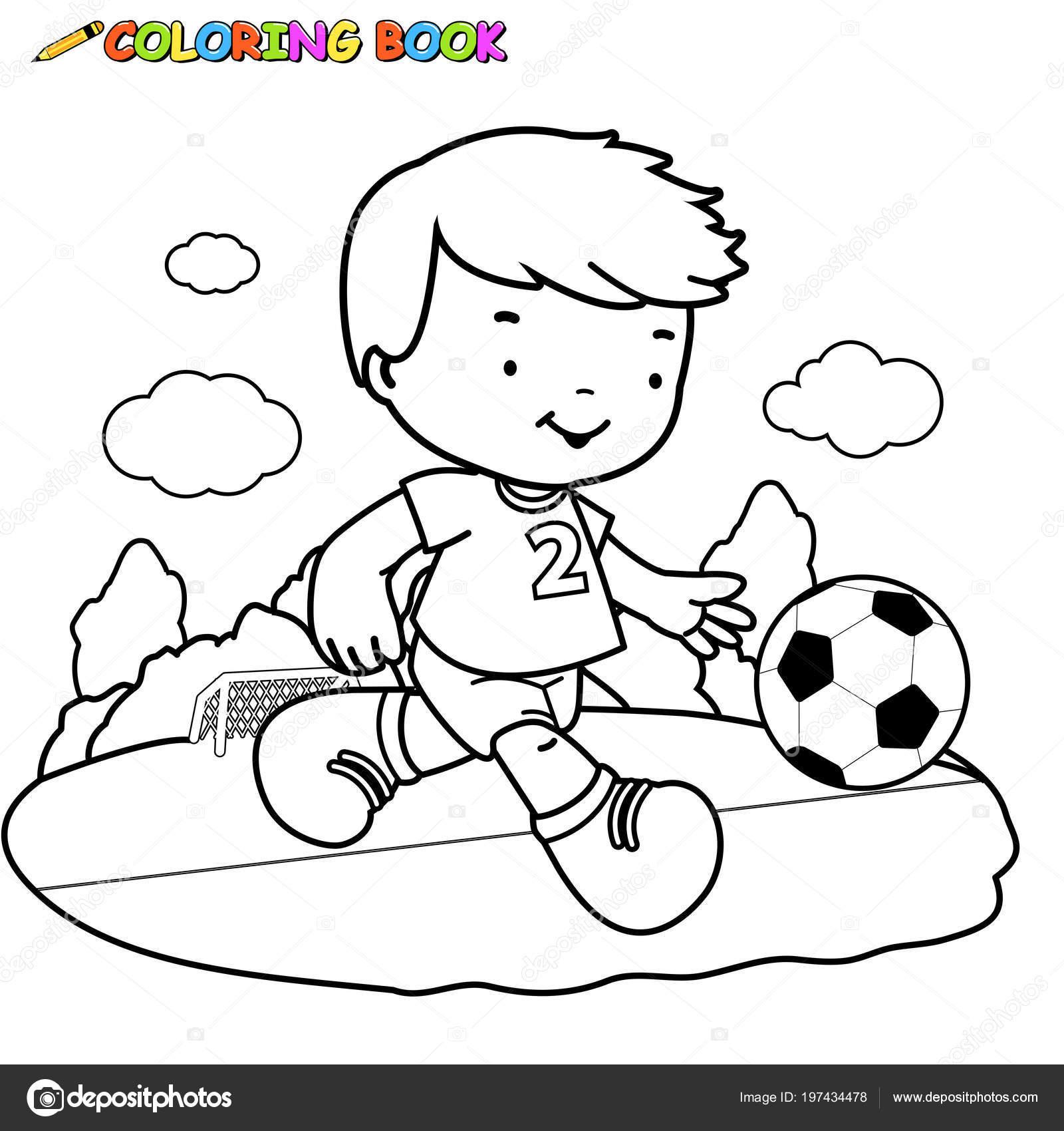 Siyah Beyaz Anahat Futbol Oynayan Bir çocuk Imajının Boyama Kitabı