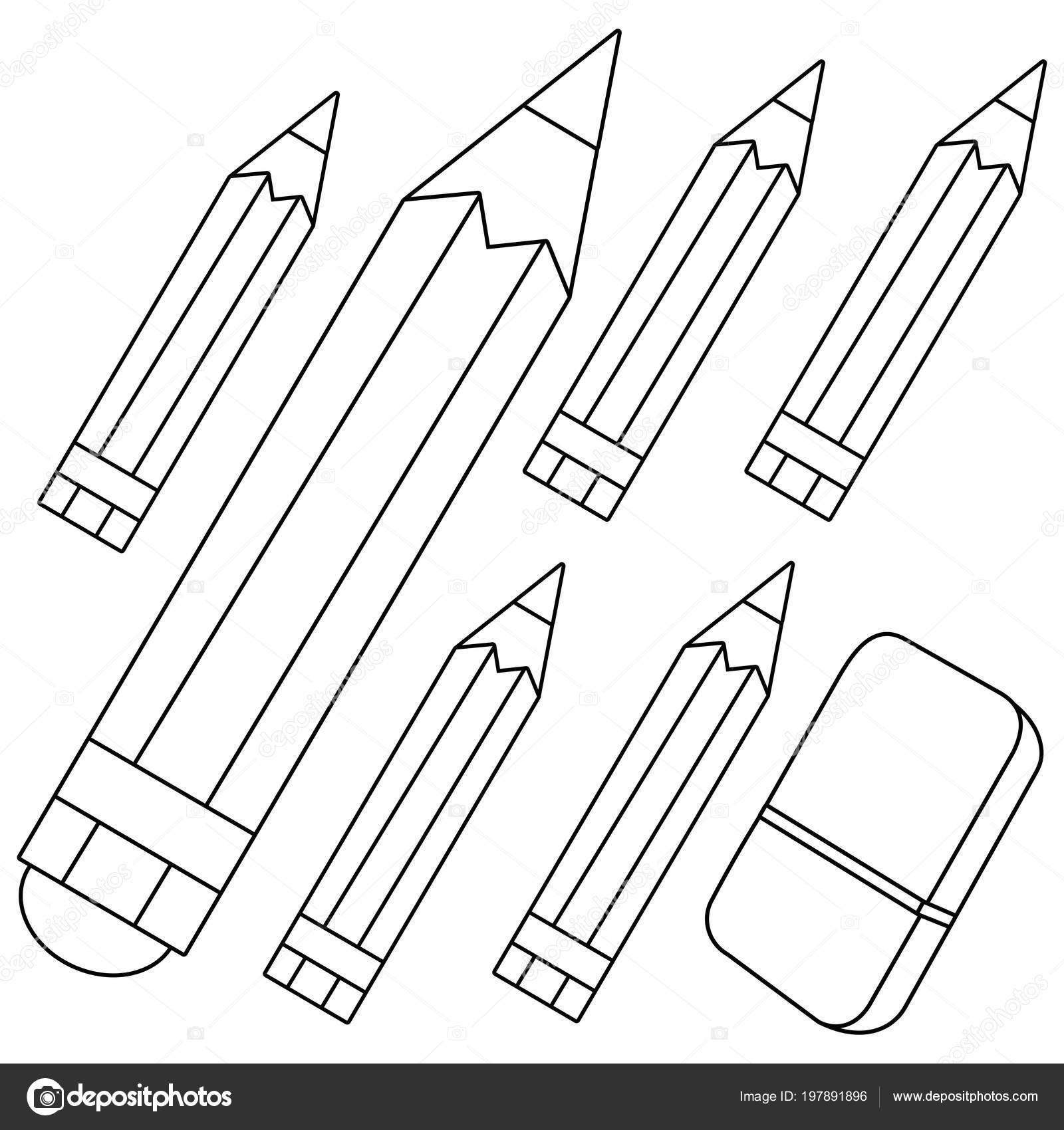 Colored Pencils Eraser Black White Coloring Book Page Stock