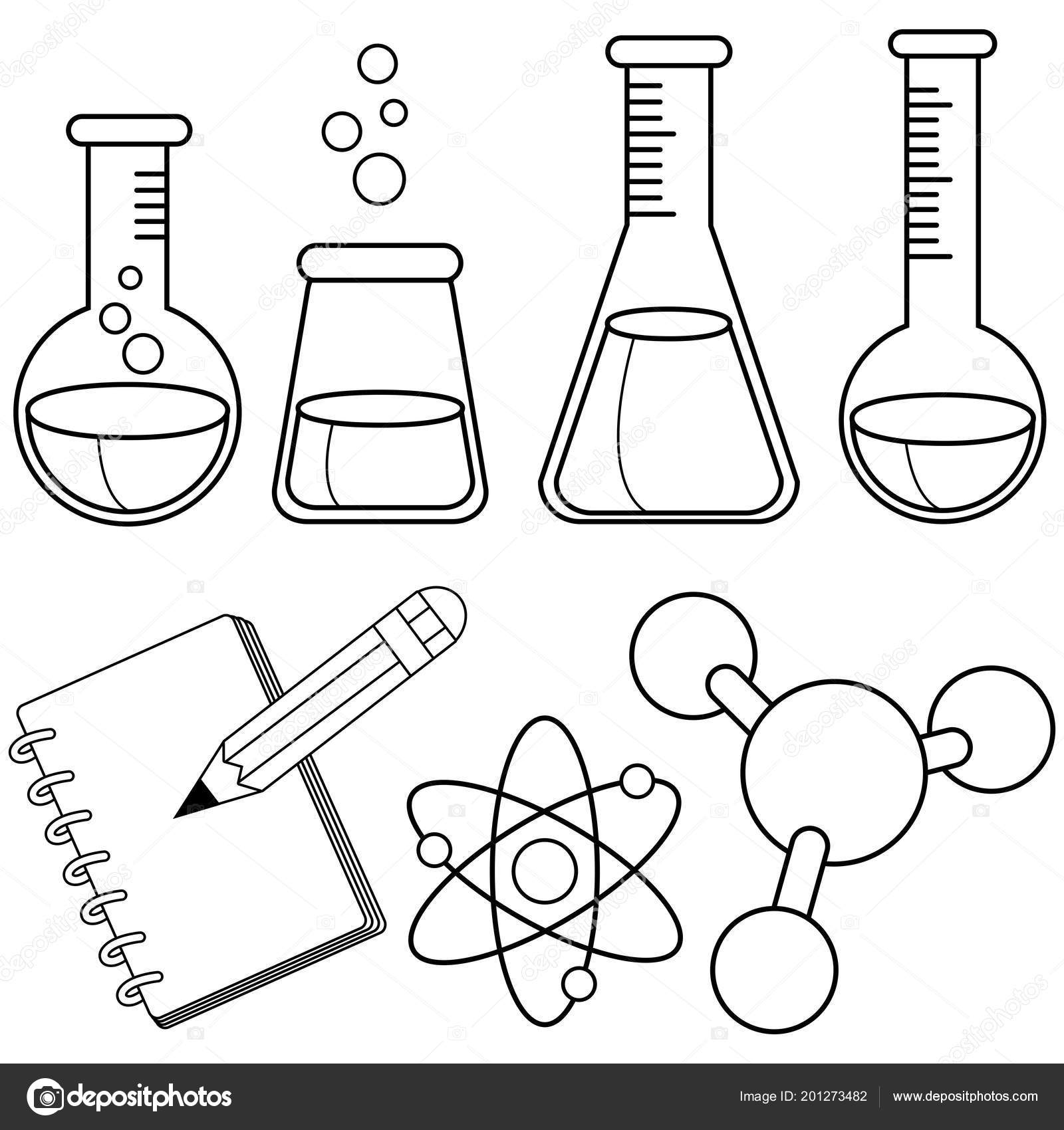 Science Chemistry Set Black White Coloring Book Page — Stock Vector ...