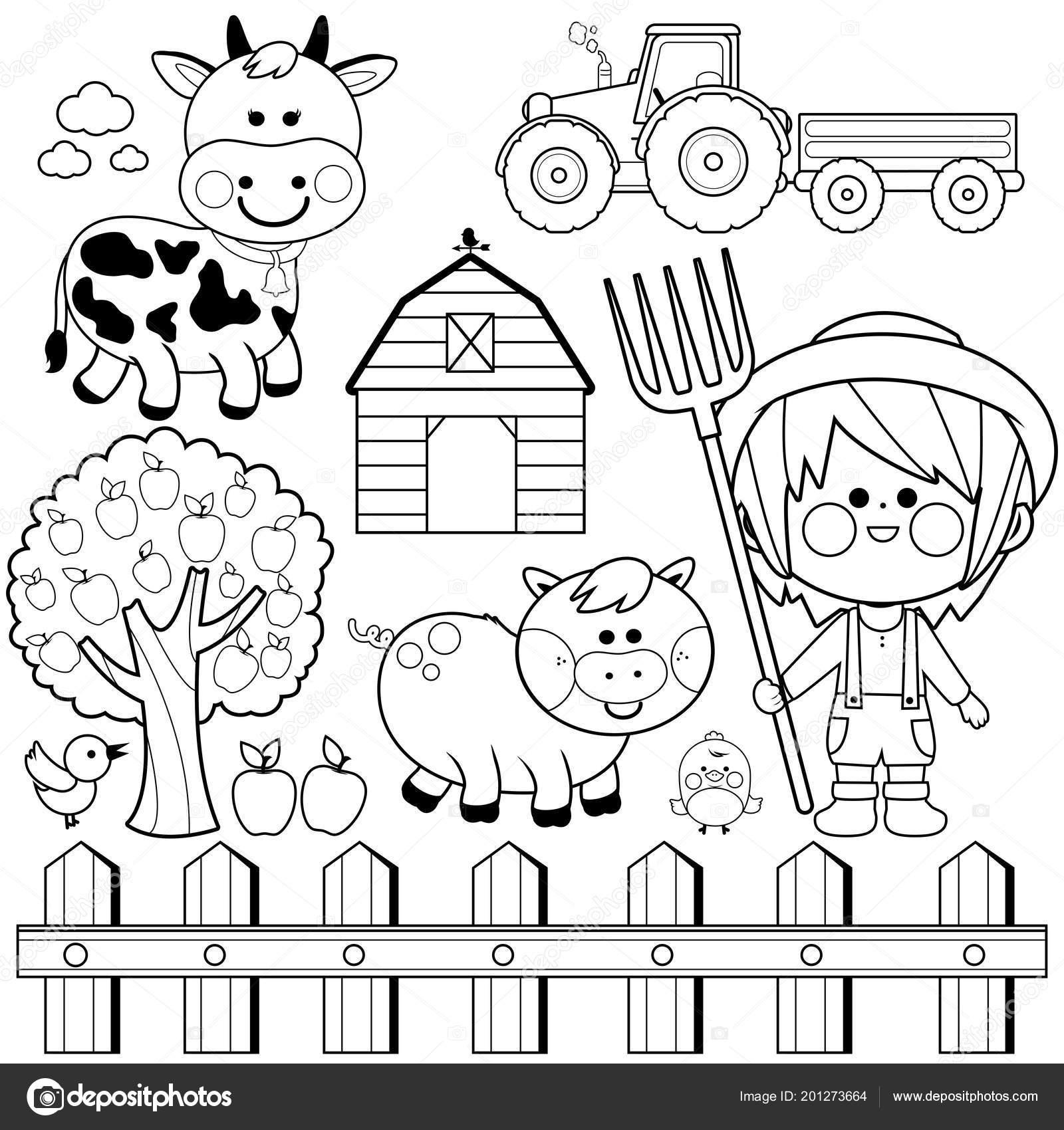 Coloriage Batiment Ferme.Collection Garcon Et Animaux De L Agriculteur Noir Et Blanc Livre