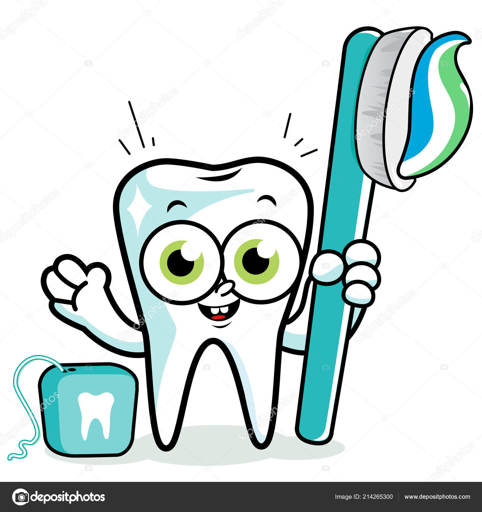 cdab713f9 Tooth Cartoon Character Holding Toothbrush Dental Floss — Stock Vector