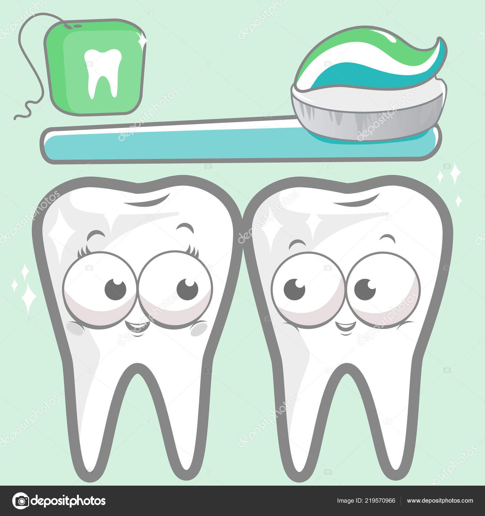d6ca5ae4f Cartoon Teeth Toothbrush Dental Floss — Stock Vector © stockakia ...