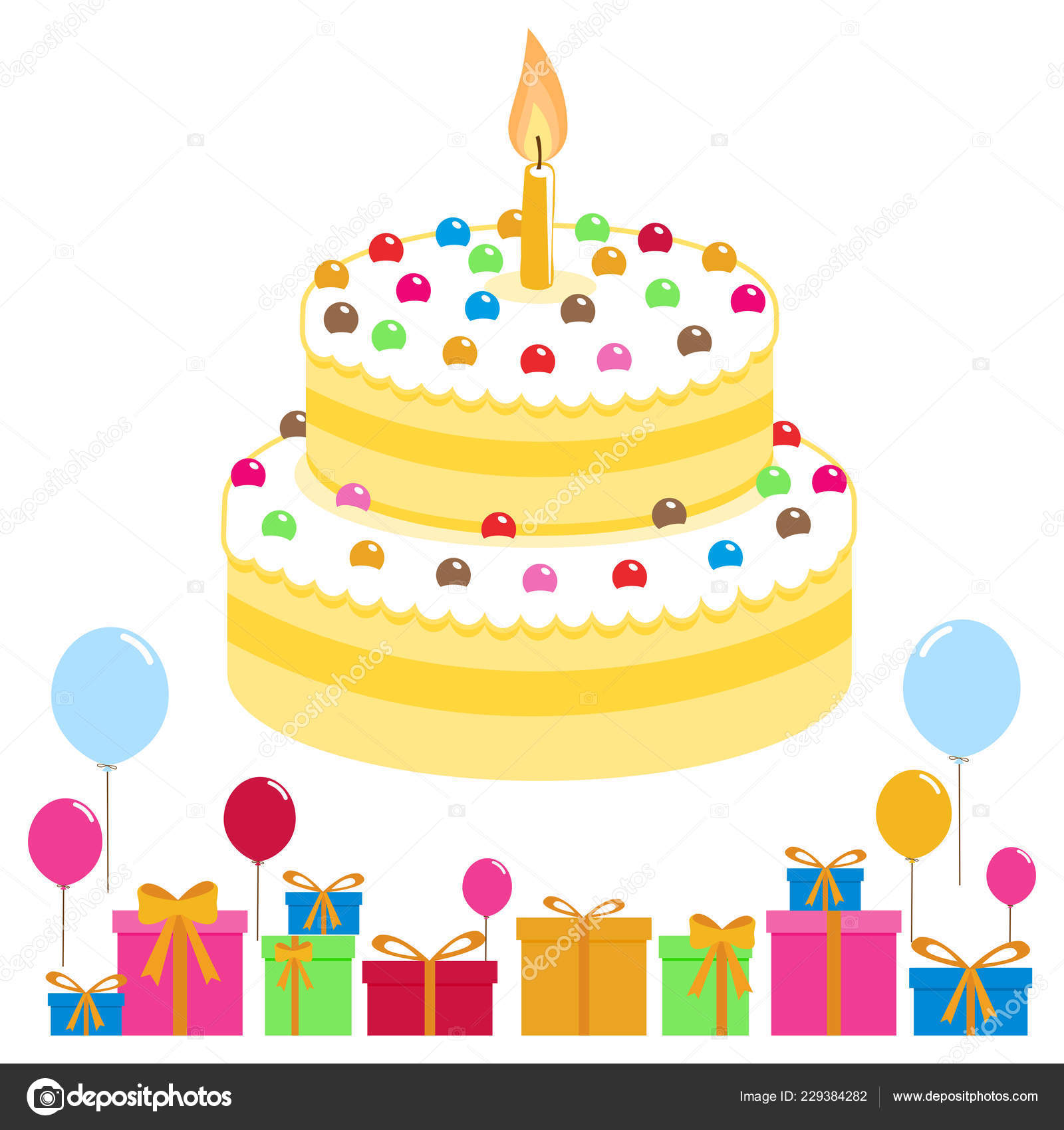 Amazing Vector Illustration Birthday Cake Balloons Boxes Presents Stock Birthday Cards Printable Trancafe Filternl
