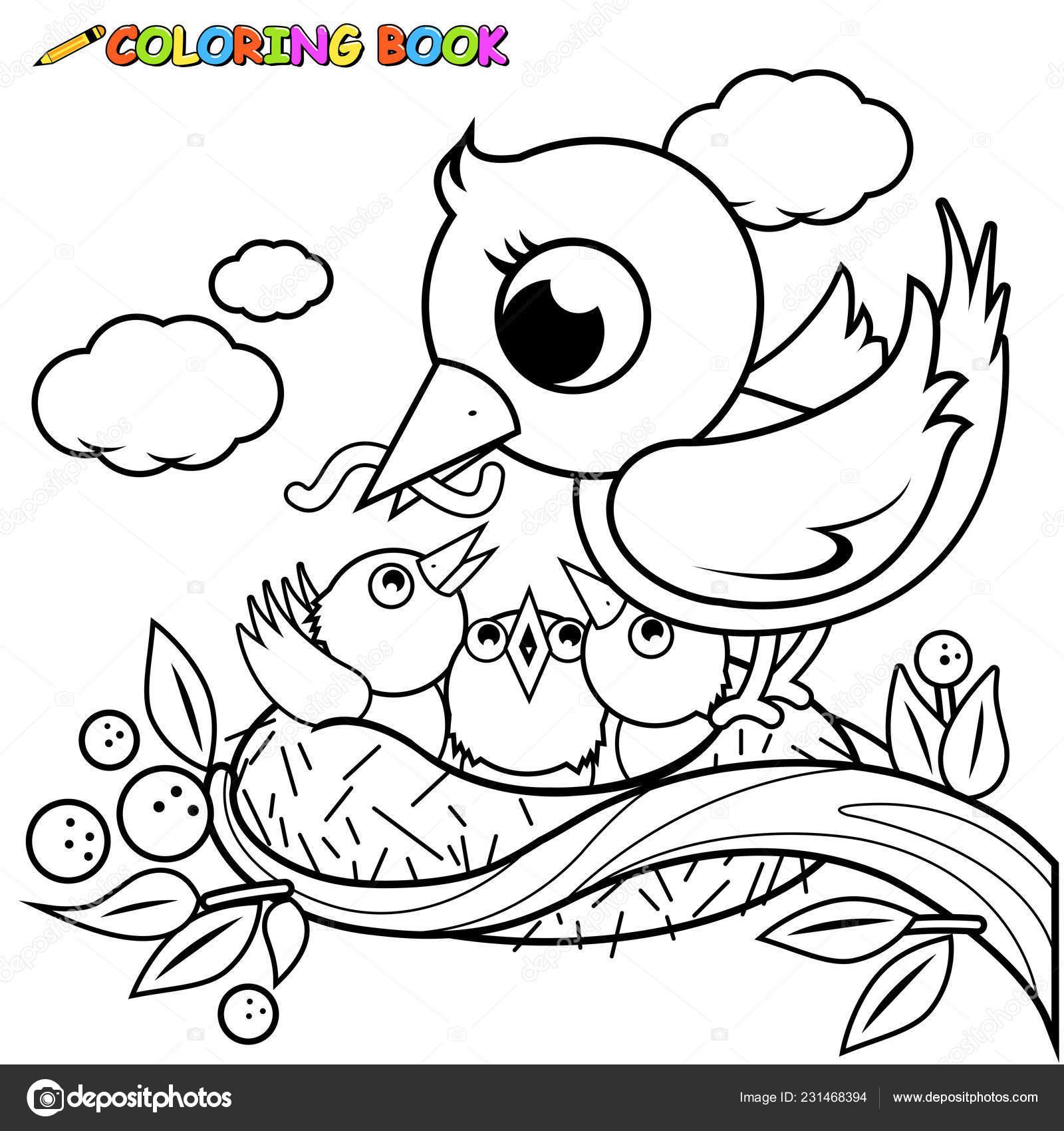 Ilustración Vectorial Lindo Alimentación Los Pájaros Jóvenes