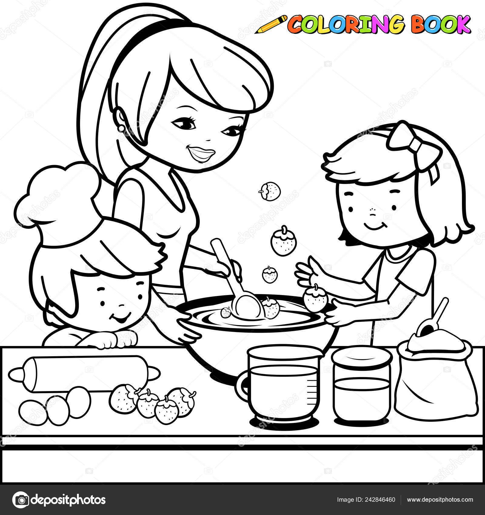 - Mother Children Cooking Kitchen Black White Coloring Book Page