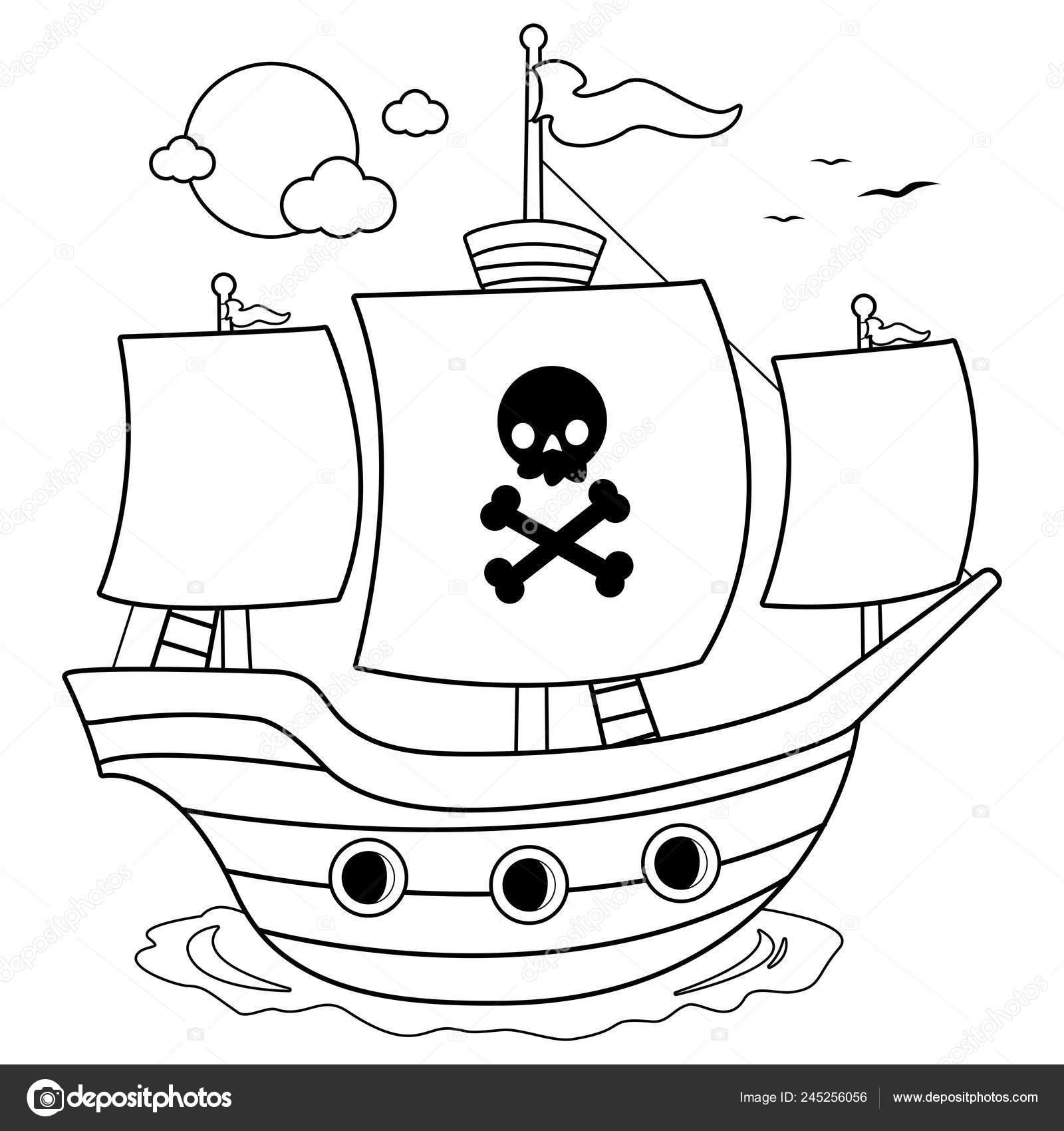 Kleurplaten Piratenschip.Piratenschip Zwart Wit Boekenpagina Kleurplaten Stockvector