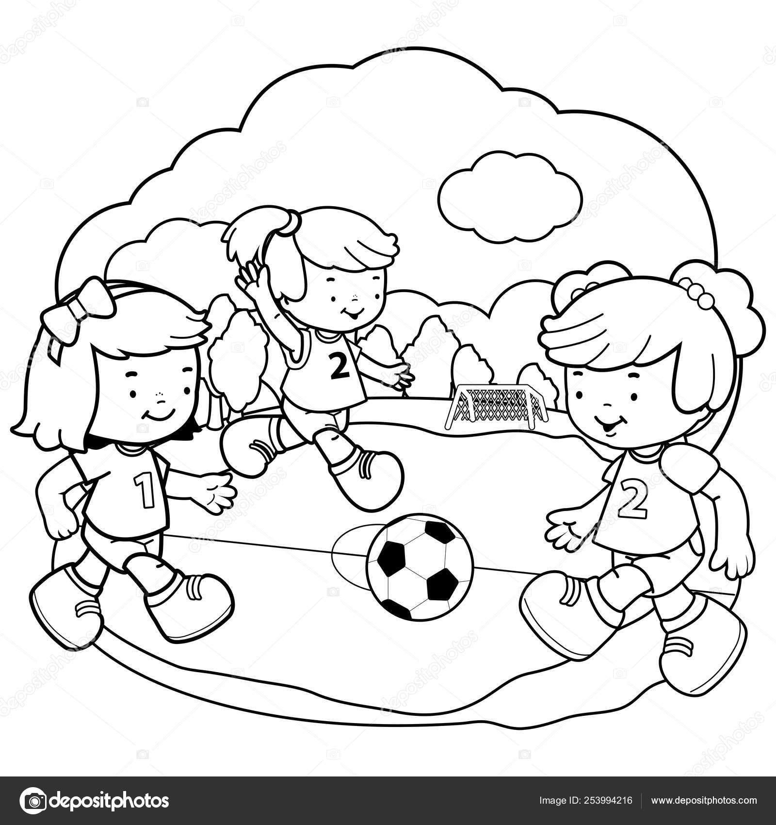 Chicas Jugando Al Fútbol Vector Blanco Y Negro Para