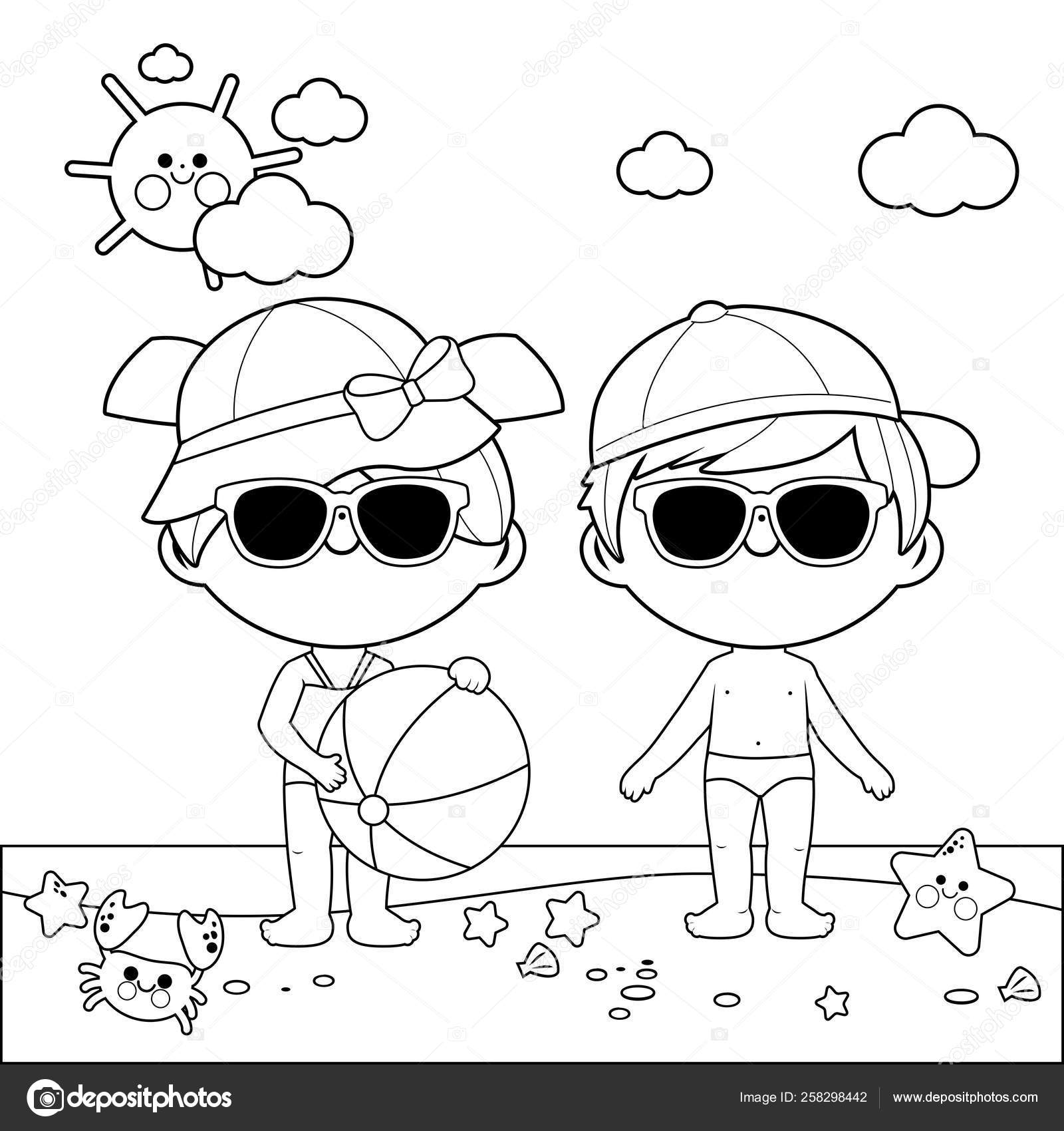 Beach Hat Coloring Page Children At The Beach With Hats