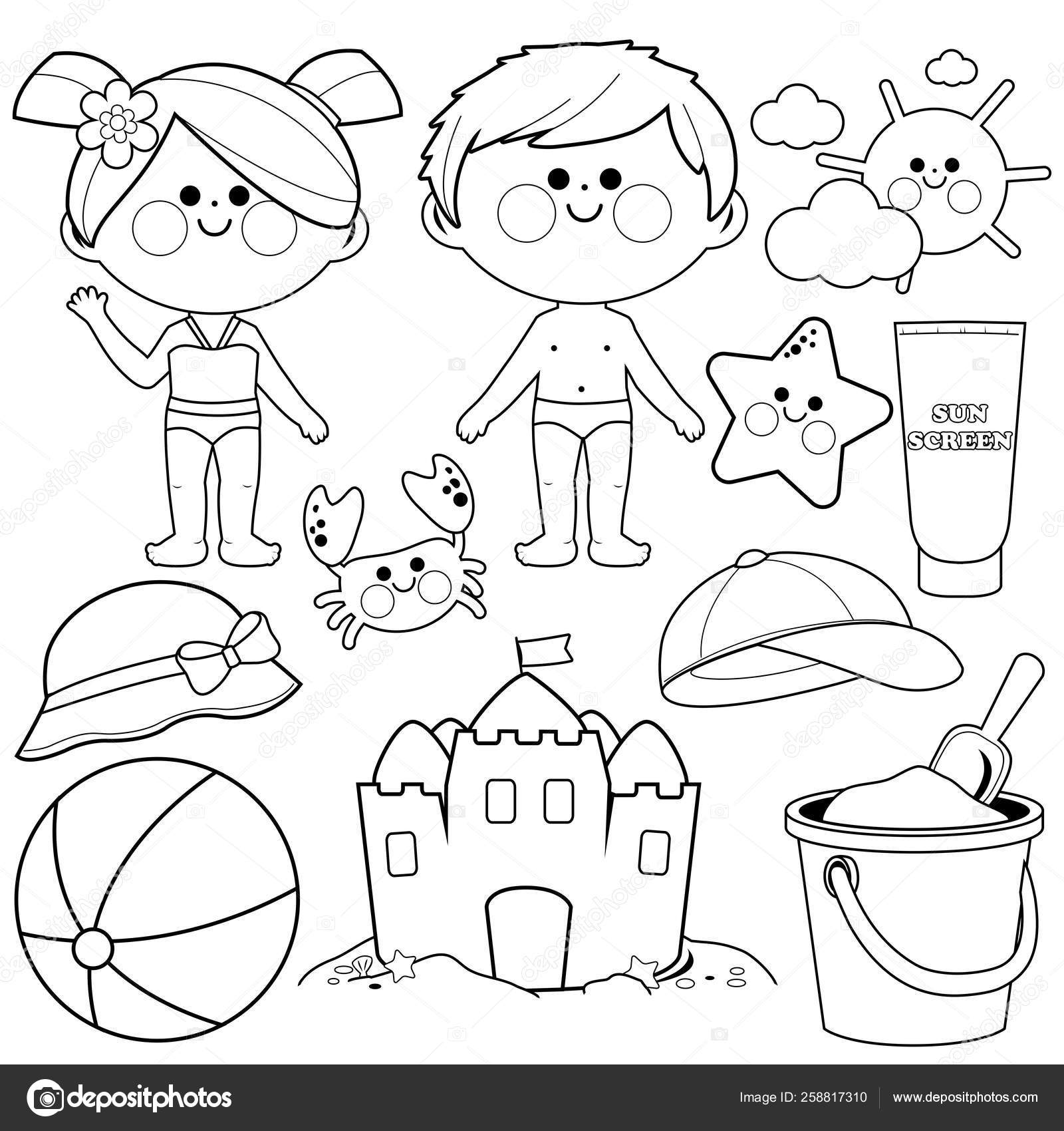 Children With Swimsuits And Beach Summer Vacation Design Elements Black And White Coloring Book Page Stock Vector C Stockakia 258817310
