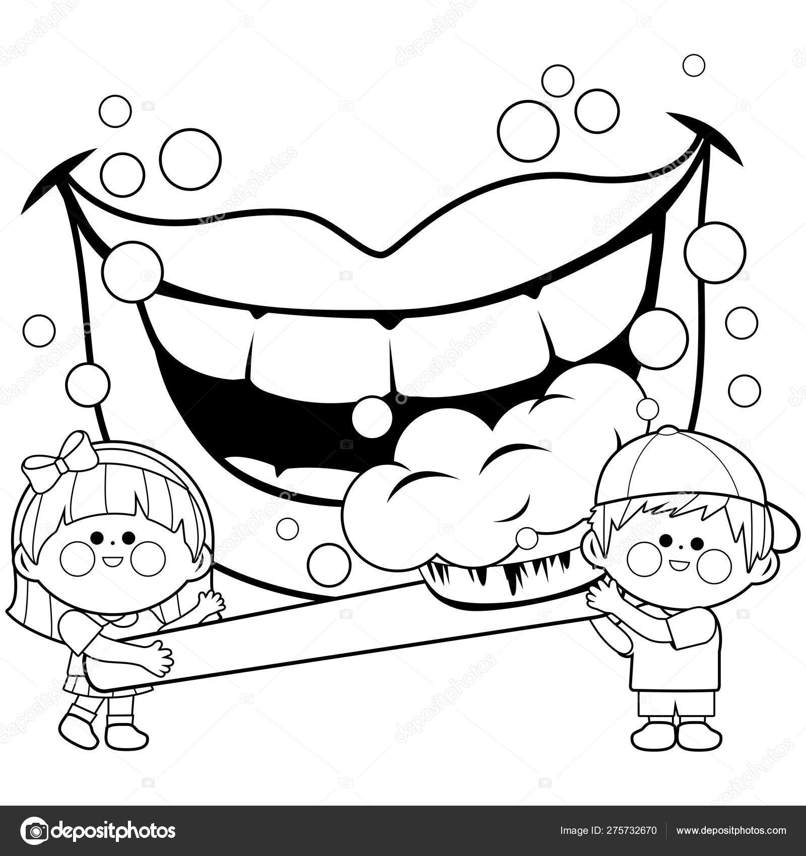 Children holding a toothbrush and brushing teeth. Coloring ...