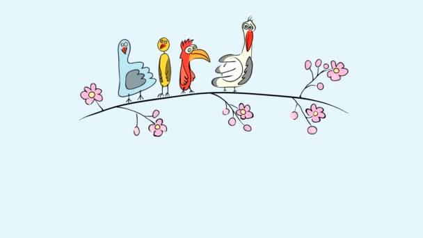 Grafická animace legrační exotický ptáci, kteří skáčou na jaře v rozkvetlené větvi. krásný čas roku k letu