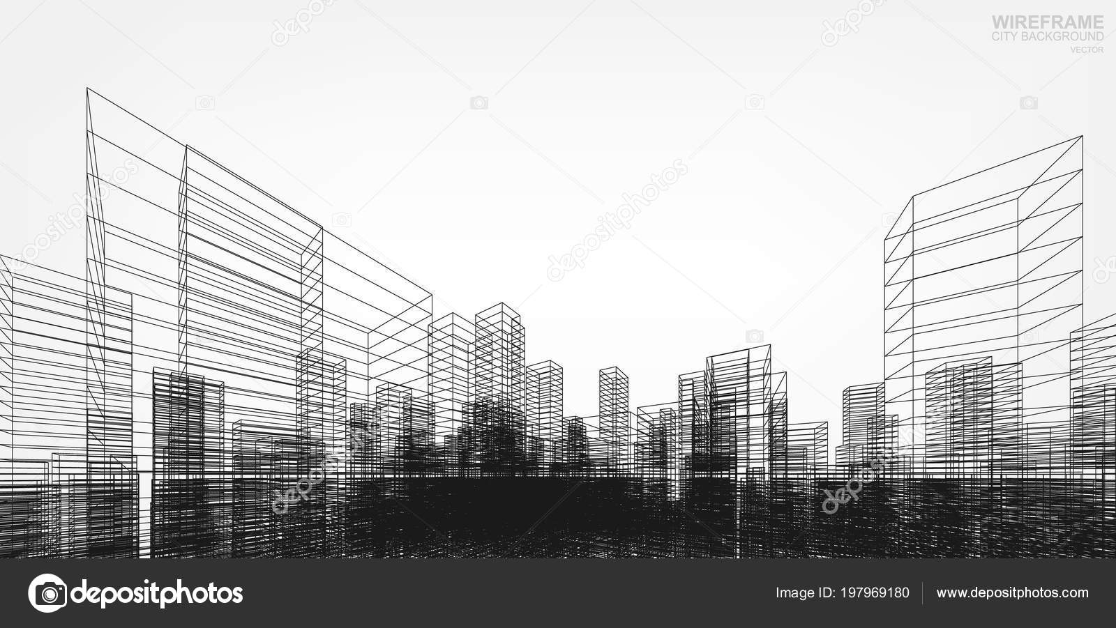 perspective render building wireframe vector wireframe city
