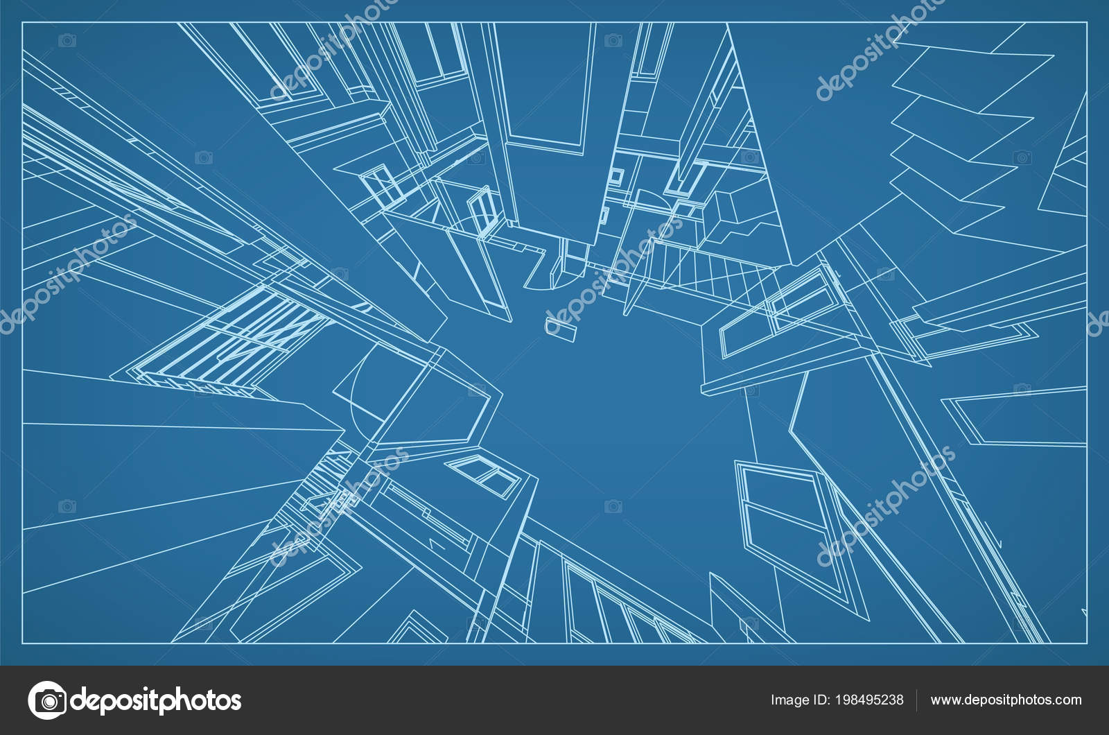abstract render building wireframe structure vector construction