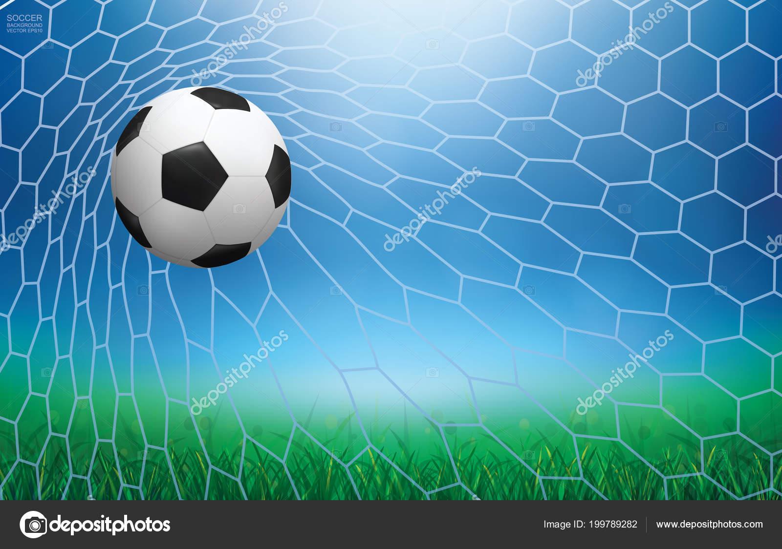 Fussball Fussball Ball Fussballtor Mit Licht Und Grune