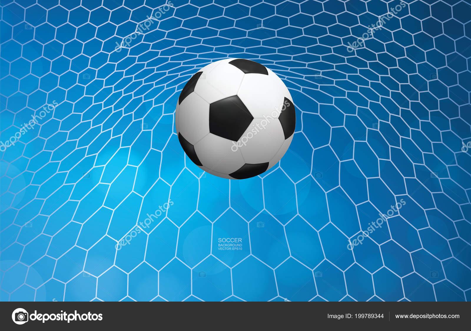 Fussball Fussball Ball Tor Und Fussballnetz Mit Licht Unscharf