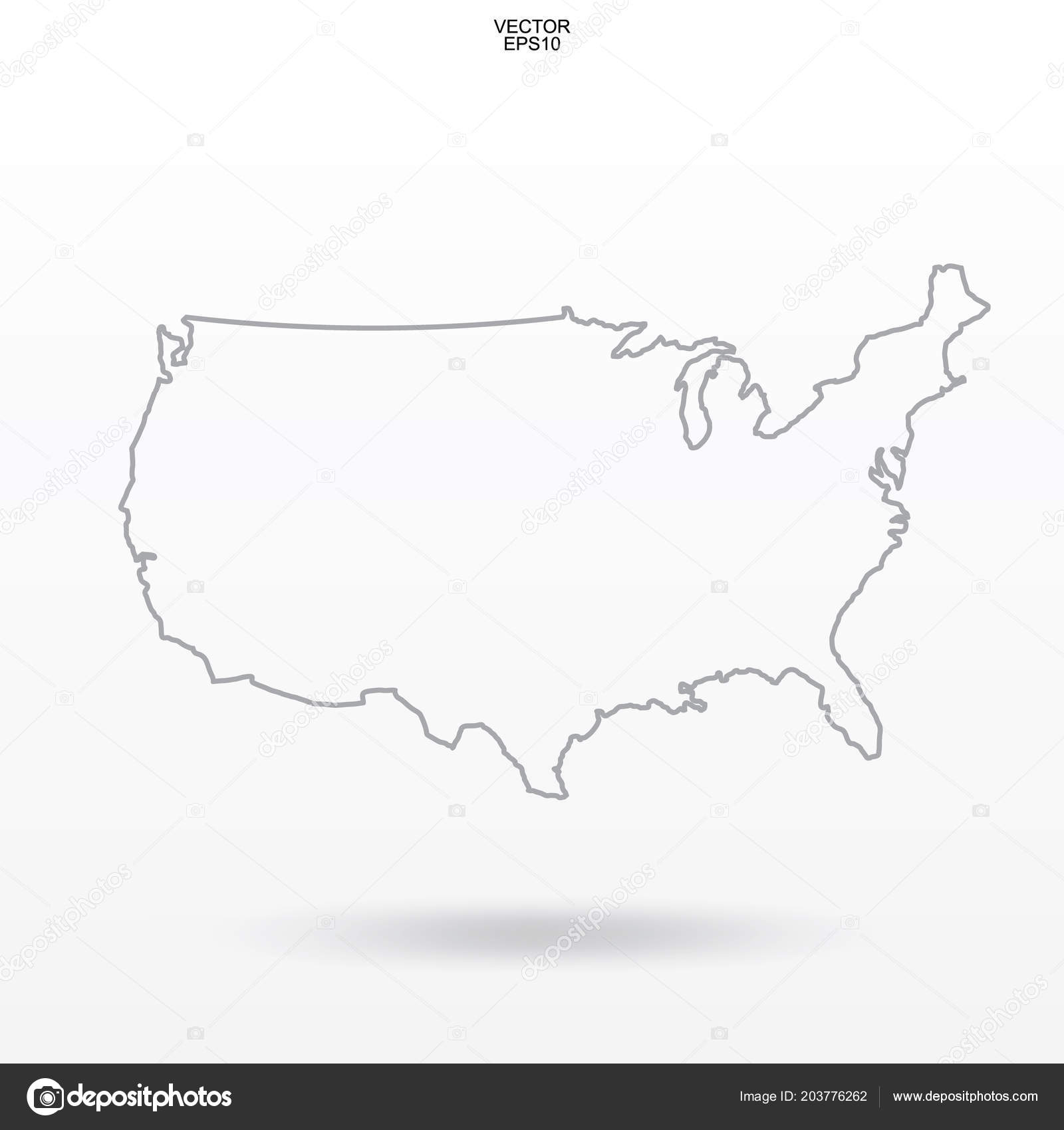 Map Usa Outline United States America Map White Background ...
