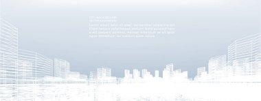 """Картина, постер, плакат, фотообои """"Абстрактный фон города каркас. Перспективы строительства каркасных 3d визуализации. Векторные иллюстрации."""", артикул 203777206"""