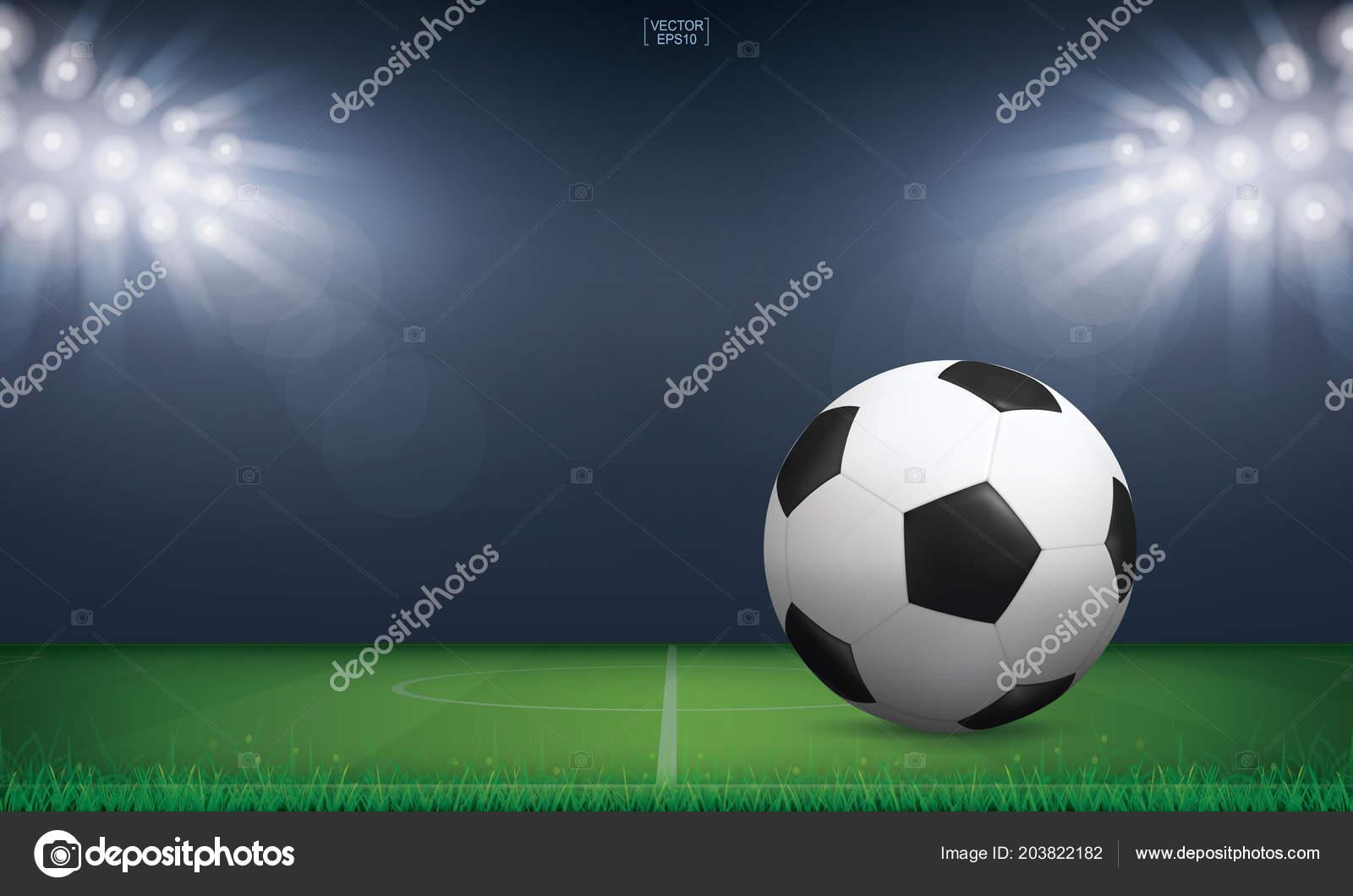 soccer football ball green grass soccer field football field stadium stock vector c praew p 1985 hotmail com 203822182 depositphotos