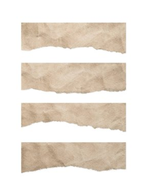 Vintage ripped paper texture on white background with clipping path.