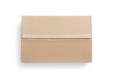Top view of cardboard box isolated on White Background with clipping path.