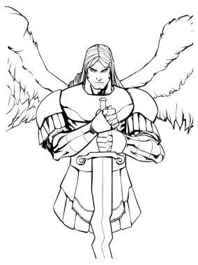 Archangel Michael Portrait Line Art