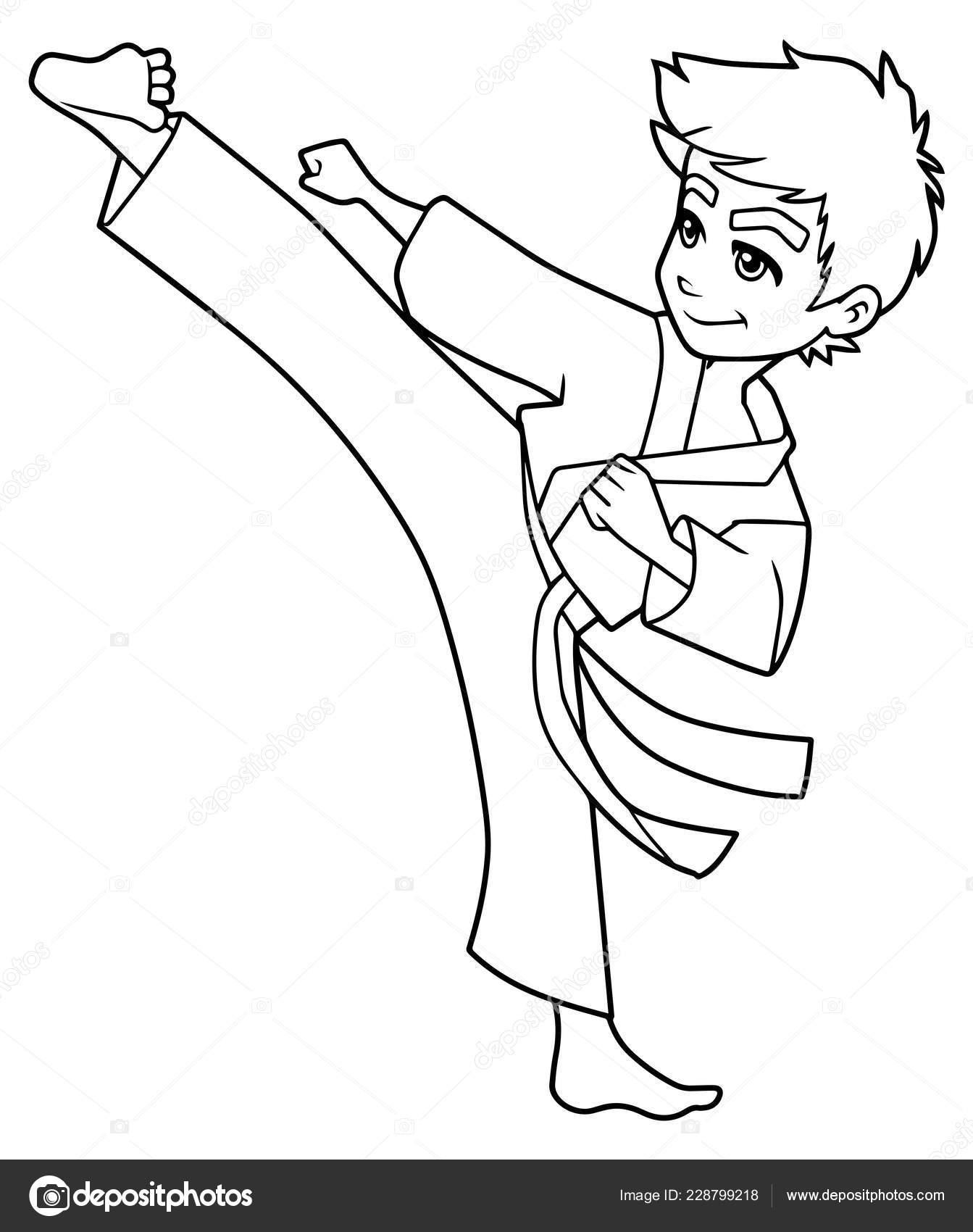 Patada De Karate Boy Línea Arte Archivo Imágenes Vectoriales