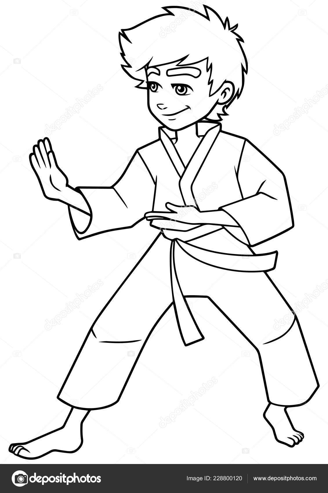 Postura De Karate Boy Línea Arte Vector De Stock Malchev 228800120