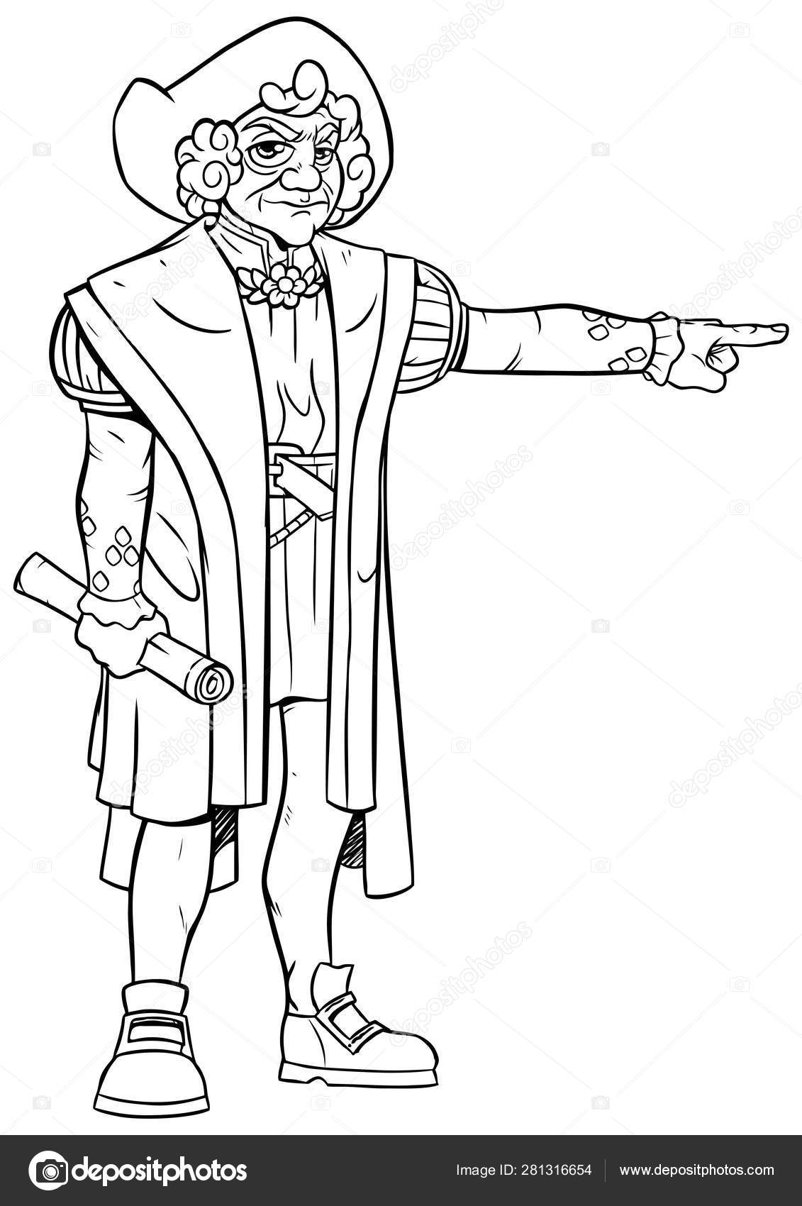 Arte De Línea De Cristóbal Colón Vector De Stock Malchev
