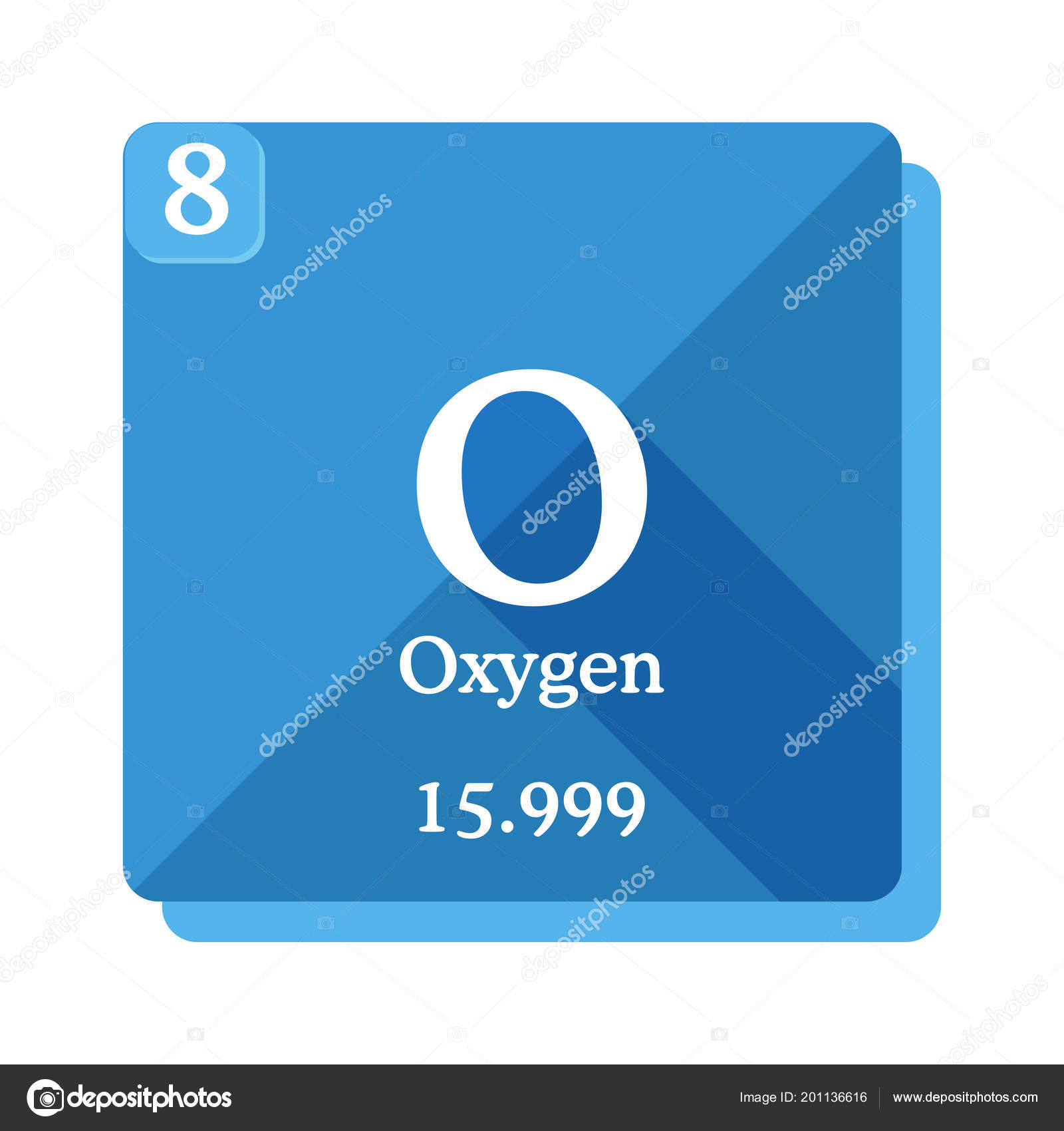 Oxygen Chemical Element Periodic Table Elements Oxygen Icon Blue