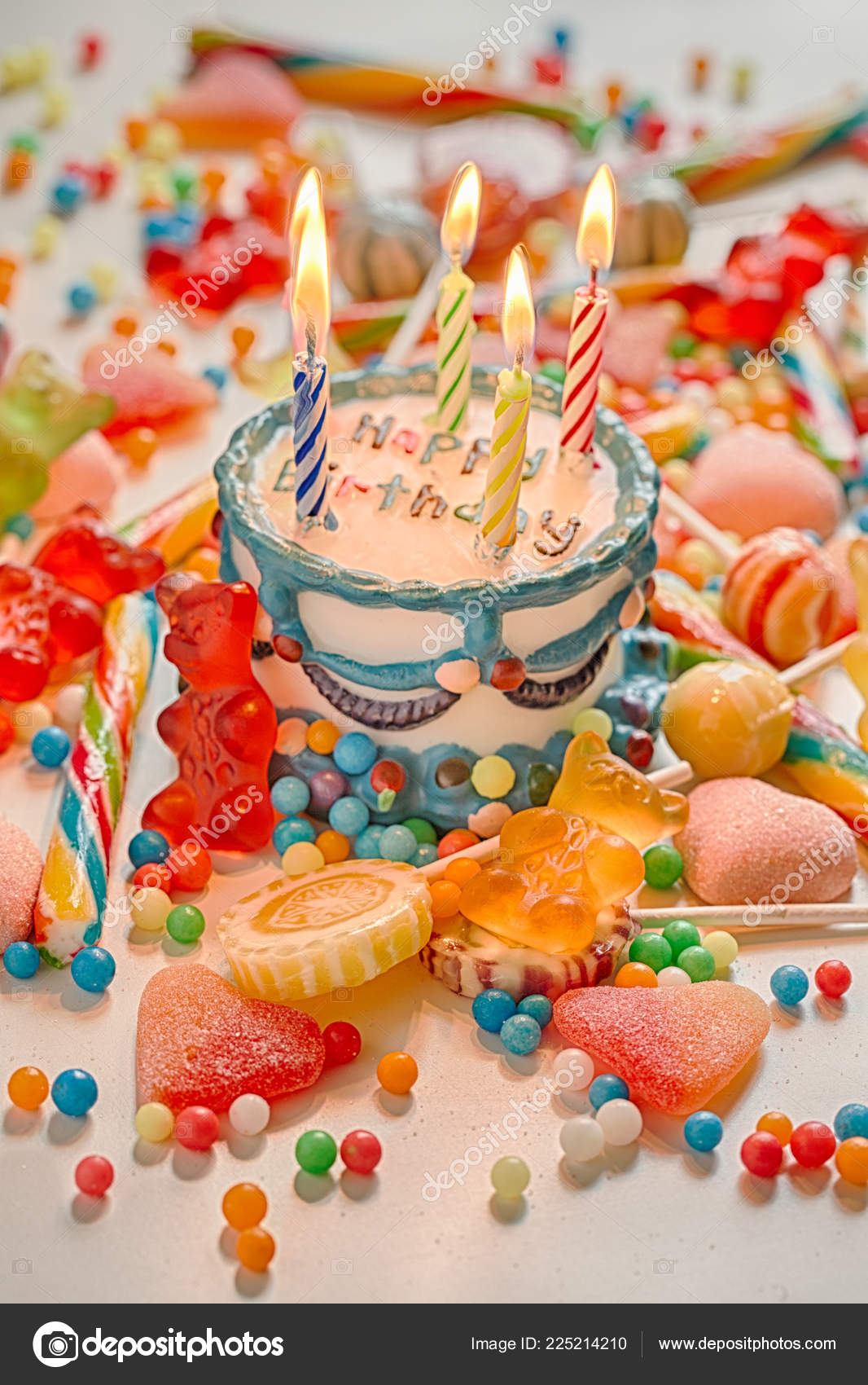 Fine Happy Birthday Cake Candles Stock Photo C Aguaviva 225214210 Funny Birthday Cards Online Alyptdamsfinfo