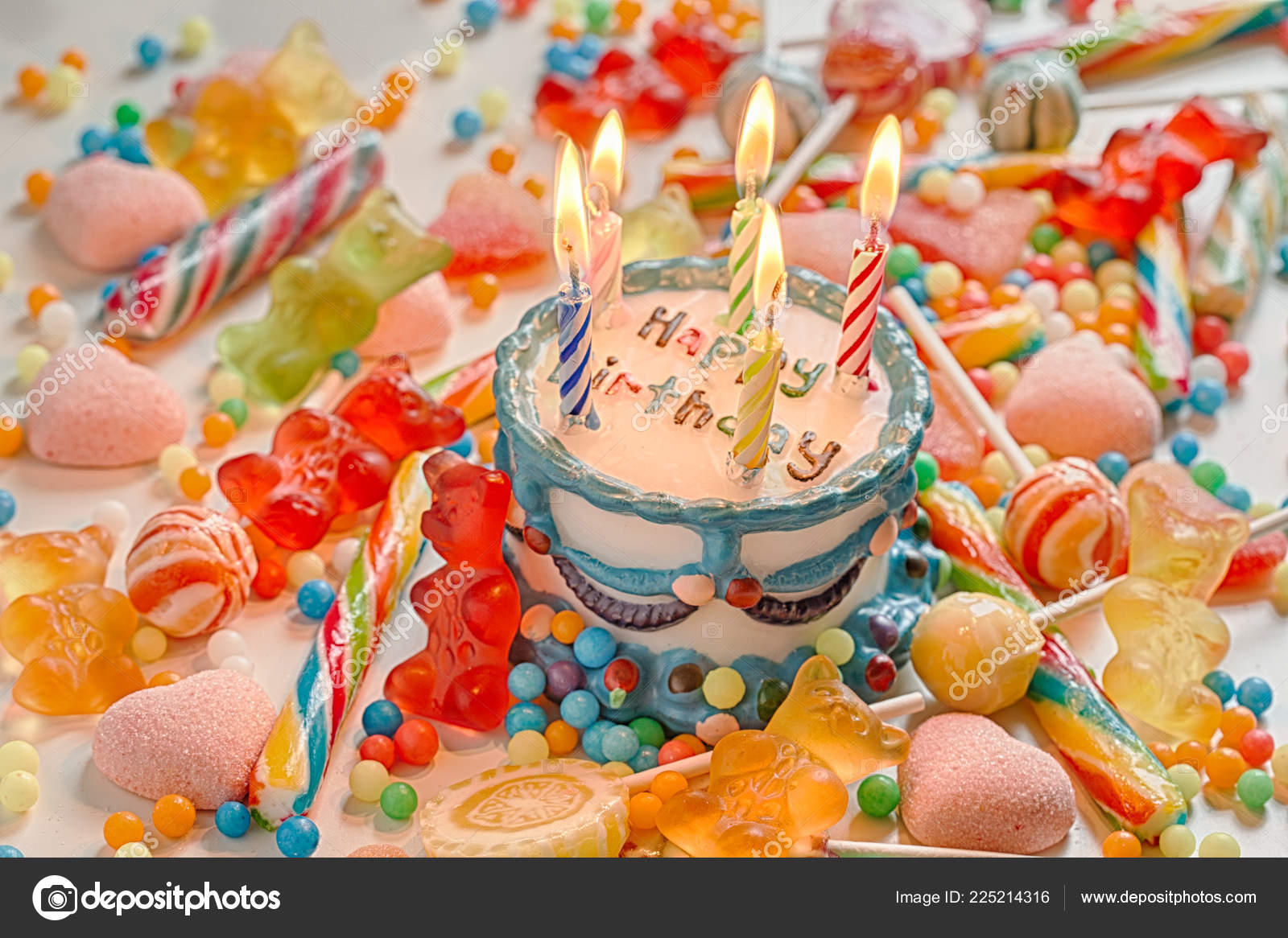 Awe Inspiring Happy Birthday Cake Candles Stock Photo C Aguaviva 225214316 Funny Birthday Cards Online Alyptdamsfinfo