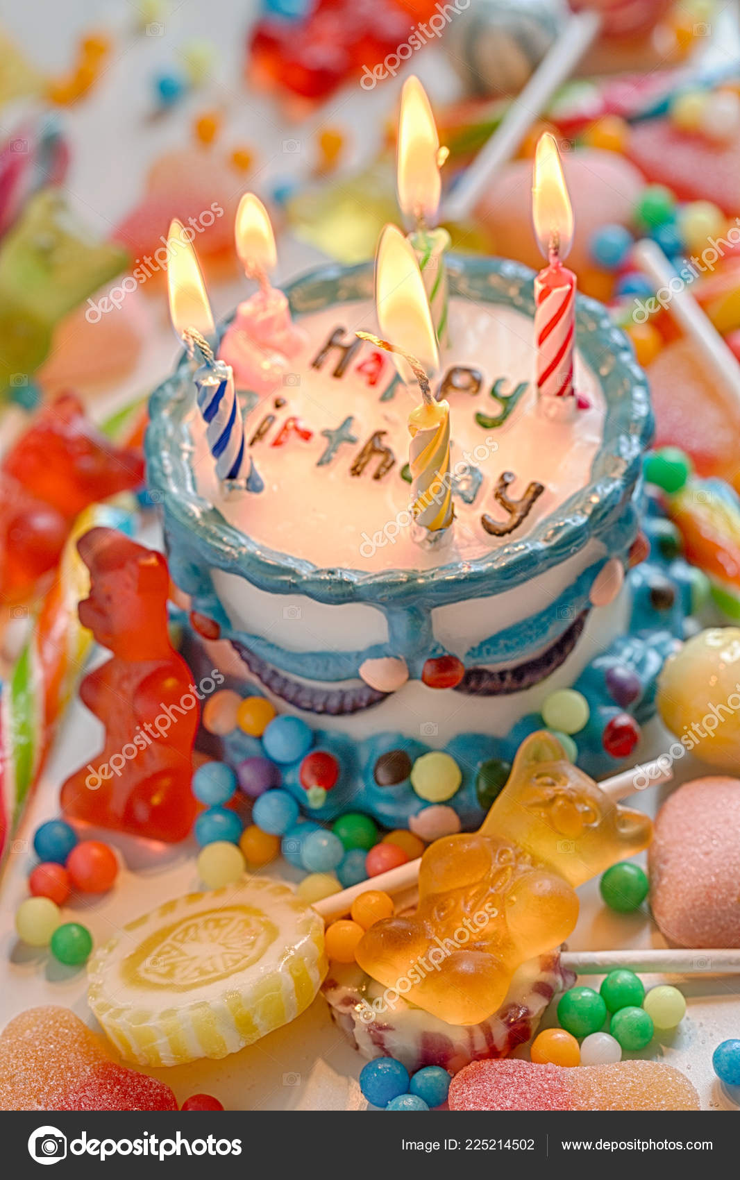 Marvelous Happy Birthday Cake Candles Stock Photo C Aguaviva 225214502 Funny Birthday Cards Online Inifofree Goldxyz