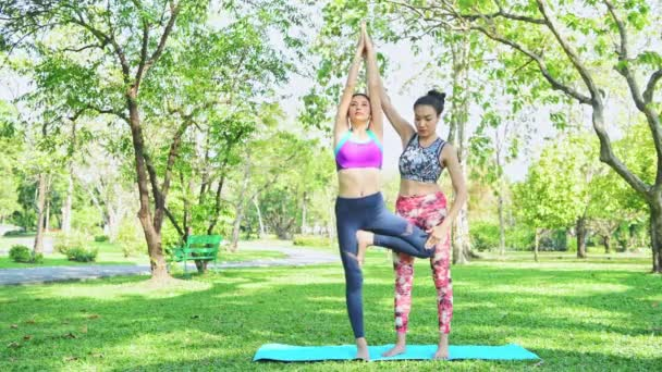 Woman teaches yoga in park. Practising yoga and relaxing on the public park.