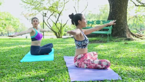 Frau unterrichtet Yoga im Park. Yoga praktizieren und im öffentlichen Park entspannen.