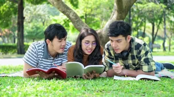 Studenti v parku. Studuji společně. Čínští Teenageři, kteří sedí spolu a čtou si knihu.