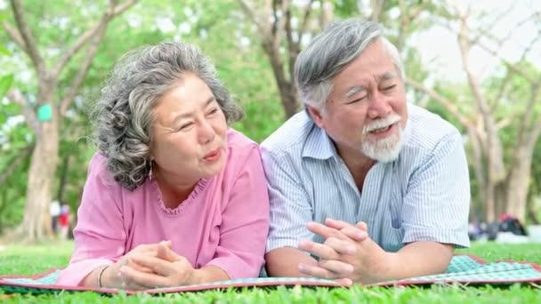 Starší dvojice v parku. Čínský starý pár v parku, relaxační, usměvavý a mluvící navzájem.