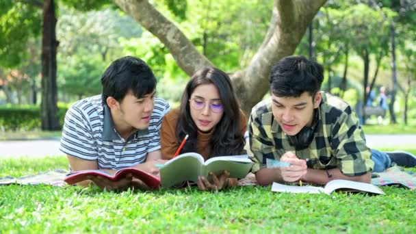 Students in park. Study together. Chinese male and female teenagers sitting together reading a book.