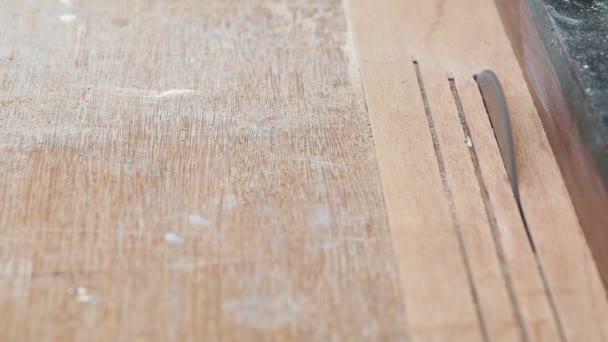 Carpenter Work Old Chinese Carpenter Wood Worker Cutting Plastic