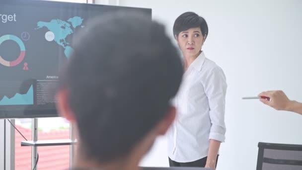 Geschäftstreffen. Kleines Start-up-Business-Meeting im Raum. asiatisches Team mit Männern und Frauen beim Brainstorming der nächsten großen Idee. Konzepte zur Gründung neuer Geschäftsmodelle.