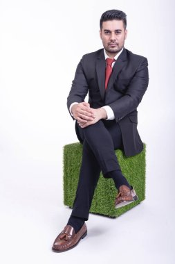 Businessman sitting on green chair isolated. Handsome young indian businessman in suit  portrait, confident looks. Full length shot.