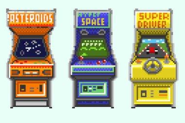 A set of pixel old gaming machines
