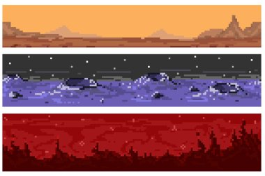 A set of pixel seamless extraterrestrial landscapes