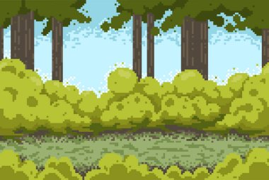 Pixel background with forest and bushes