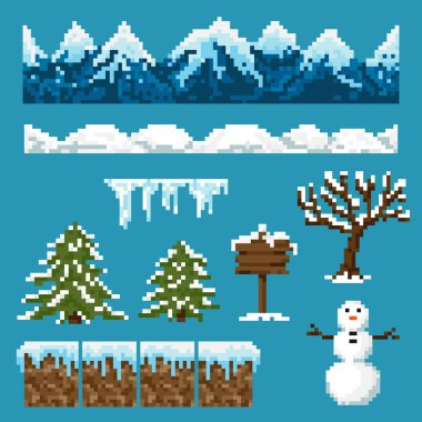 A set of pixel elements for creating a winter landscape