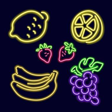 Neon fruits: lemon, strawberry, banana, grapes.