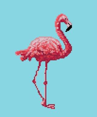 Pixel bird. Pink flamingo isolated on blue background.