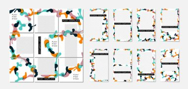 White background with abstract elements and colorful spots with place for your photos.